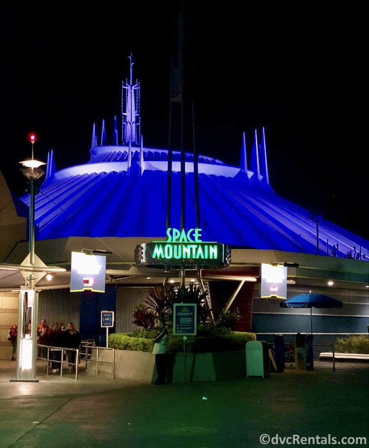 Sign for Space Mountain at Magic Kingdom