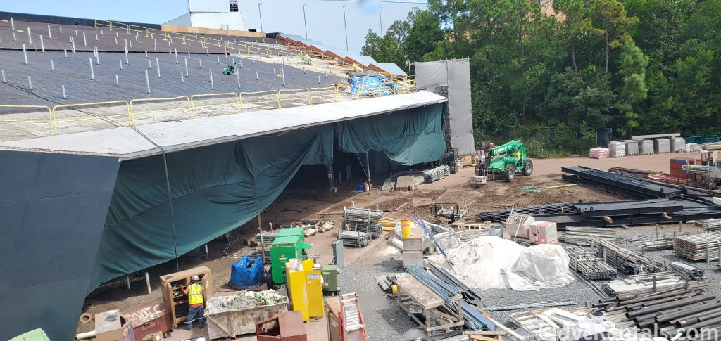 Construction at Epcot for the Guardians of the Galaxy: Cosmic Rewind