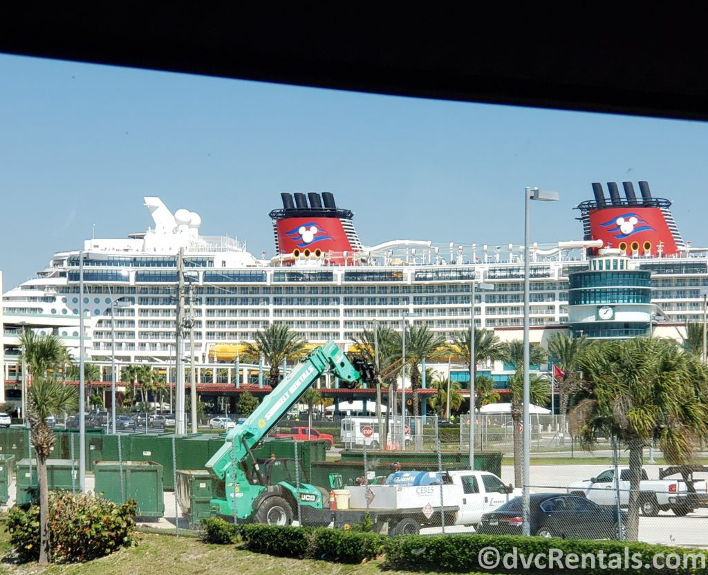 Photo of Ship from sitting in the Cruise Line Bus