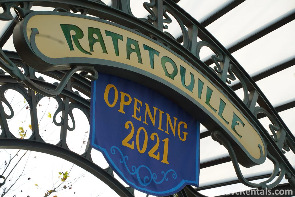 sign for the Ratatouille ride at Epcot
