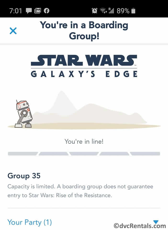Boarding Group screen in the My Disney Experience App
