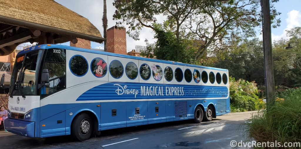 Magical Express bus in front of Disney's Animal Kingdom Villas