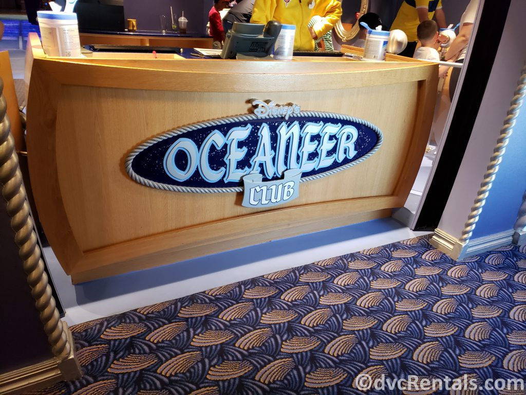 sign for the Oceaneer Club on the Disney Dream