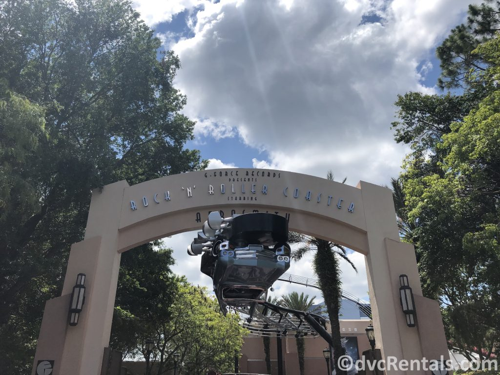 sign for the Rock 'n' Roller Coaster at Disney's Hollywood Studios