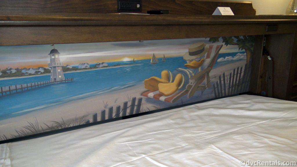 Donald Duck mural behind the pull-down bed at Disney's Beach Club Villas