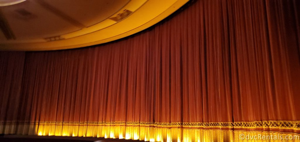 curtain for the stage at the Beauty and the Beast Sing-Along at Epcot