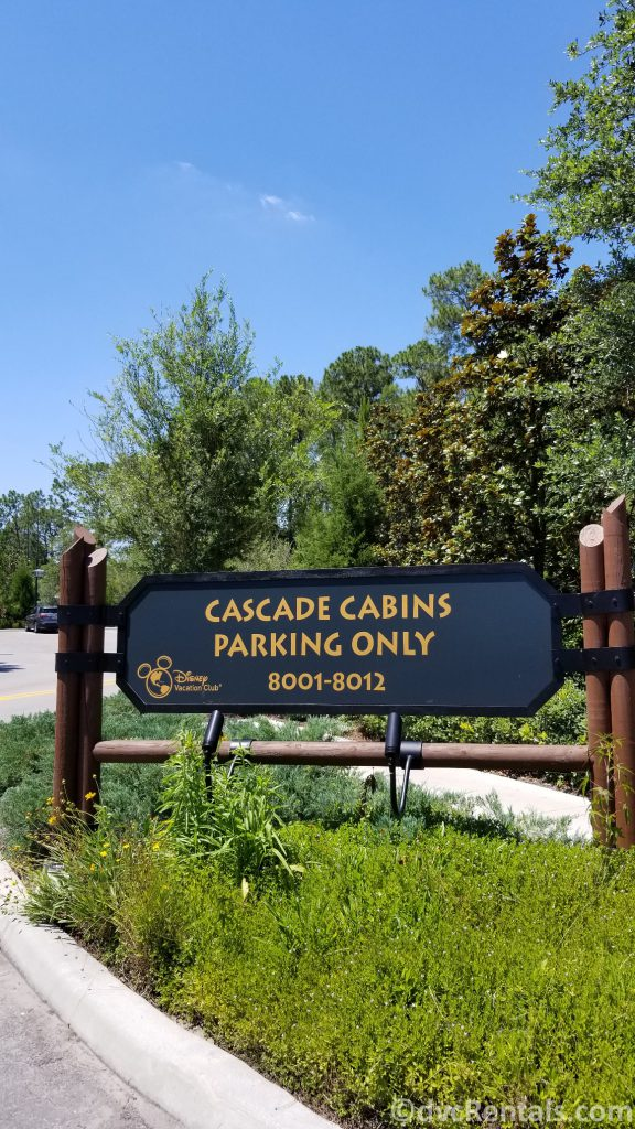 Sign for Cascade Cabin parking