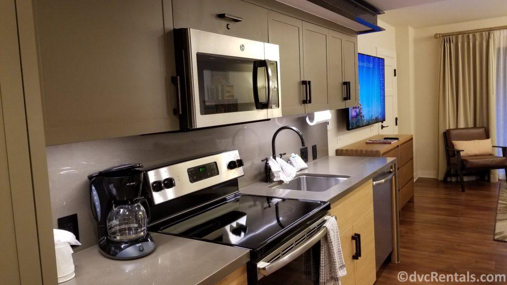 Kitchen in a 1 bedroom villa at Copper Creek Villas & Cabins at Disney's Wilderness Lodge
