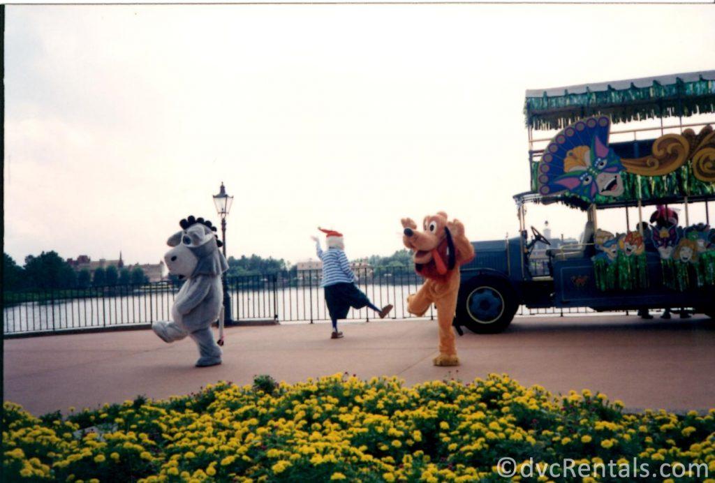 Disney characters roaming around Epcot
