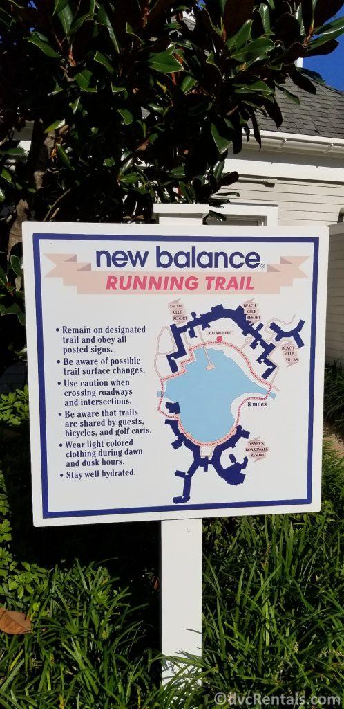 Sign for the Running Path at Disney's Beach Club Villas