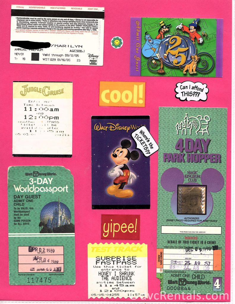 collage of old WDW tickets