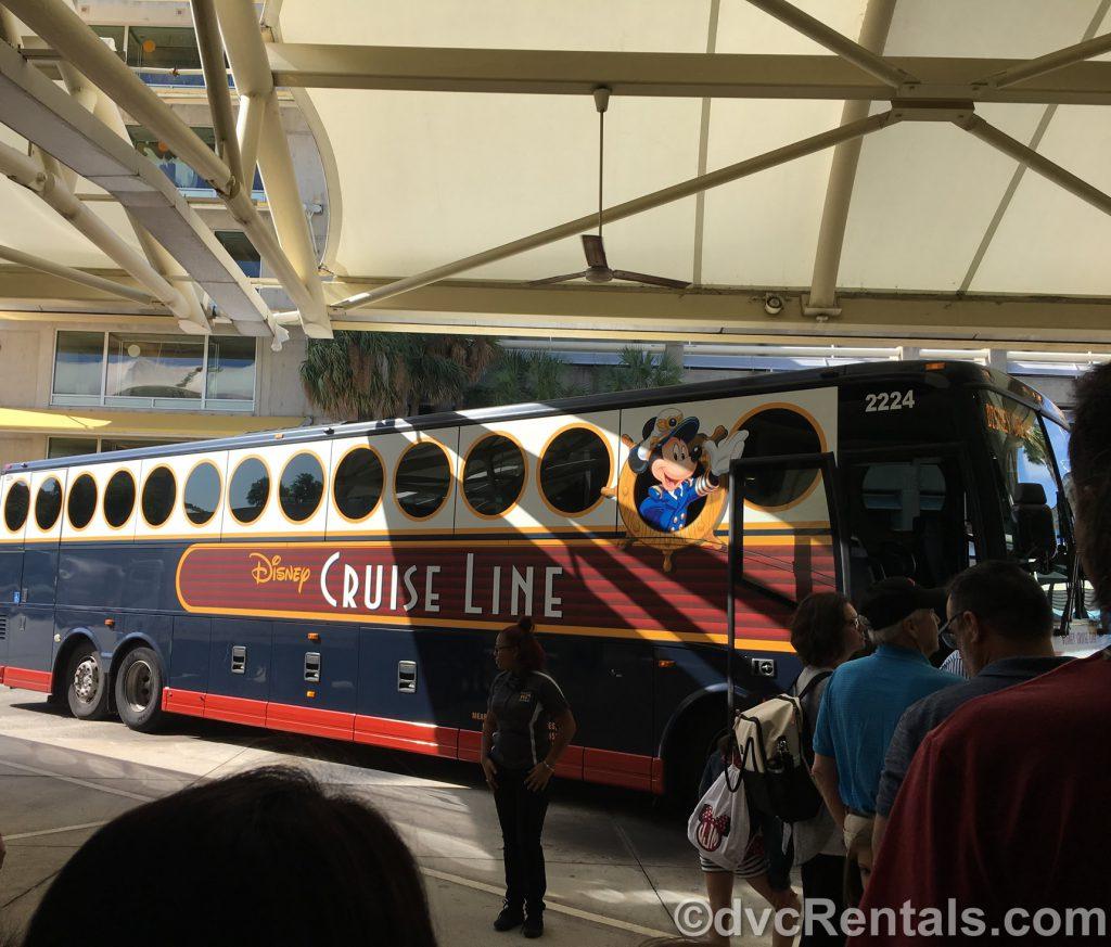 Disney Cruise Line bus at the Orlando Airport