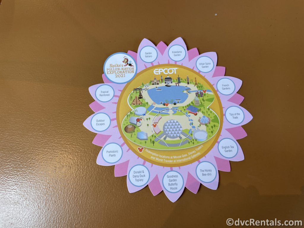 Map for Spikes' Pollen-Nation Exploration game at Epcot