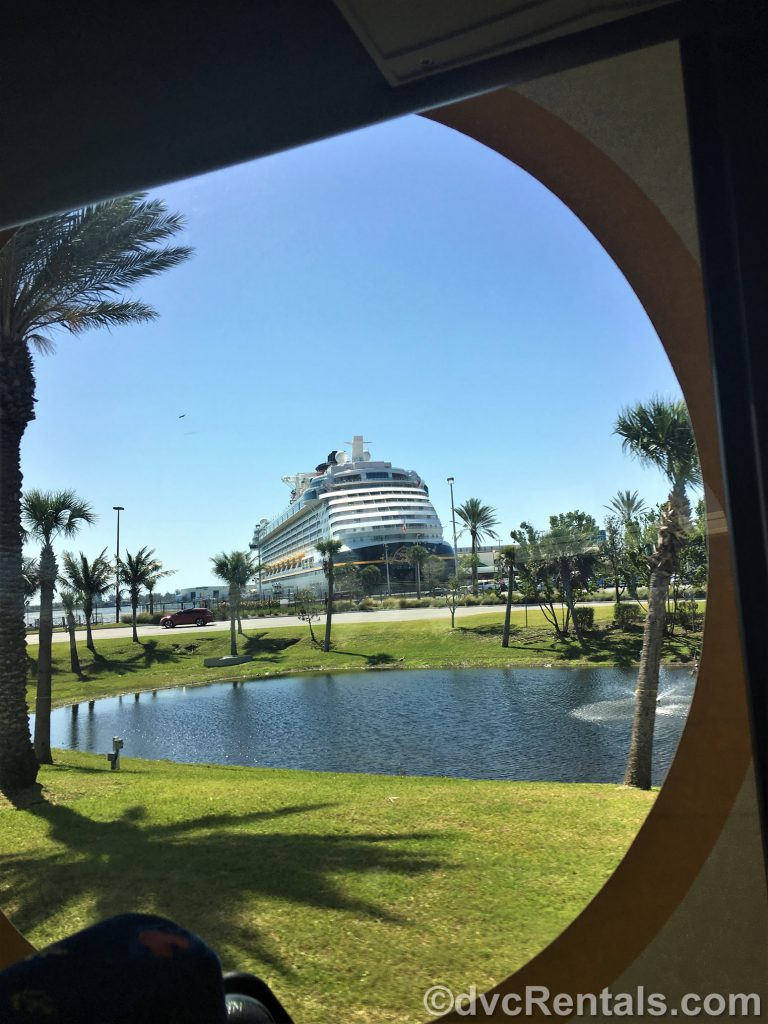 view of the Disney Dream from the bus arriving at Port Canaveral