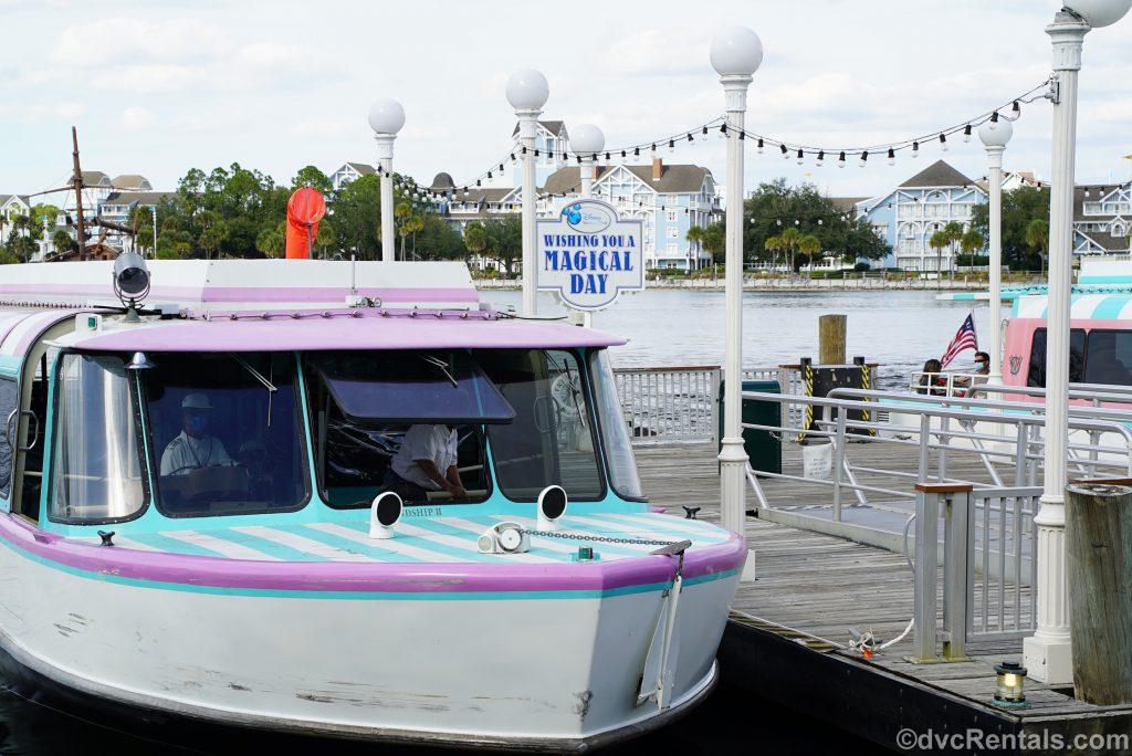 Friendship boat in front of Disney's Beach Club Villas