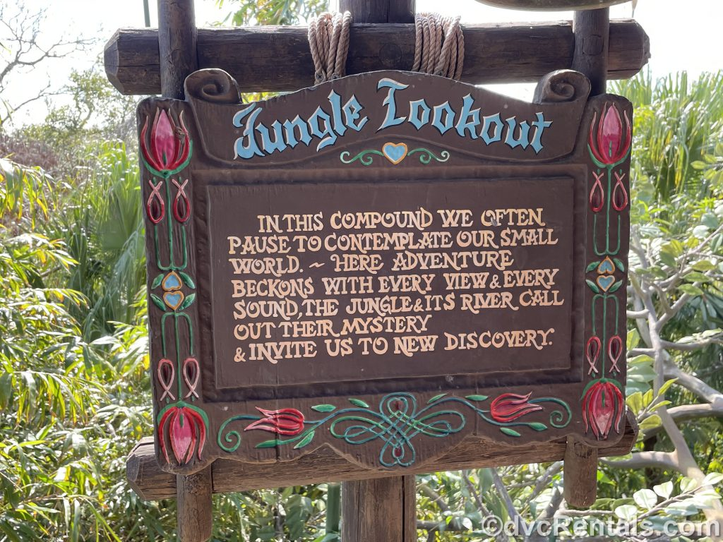 Jungle lookout sign at the Swiss Family Treehouse