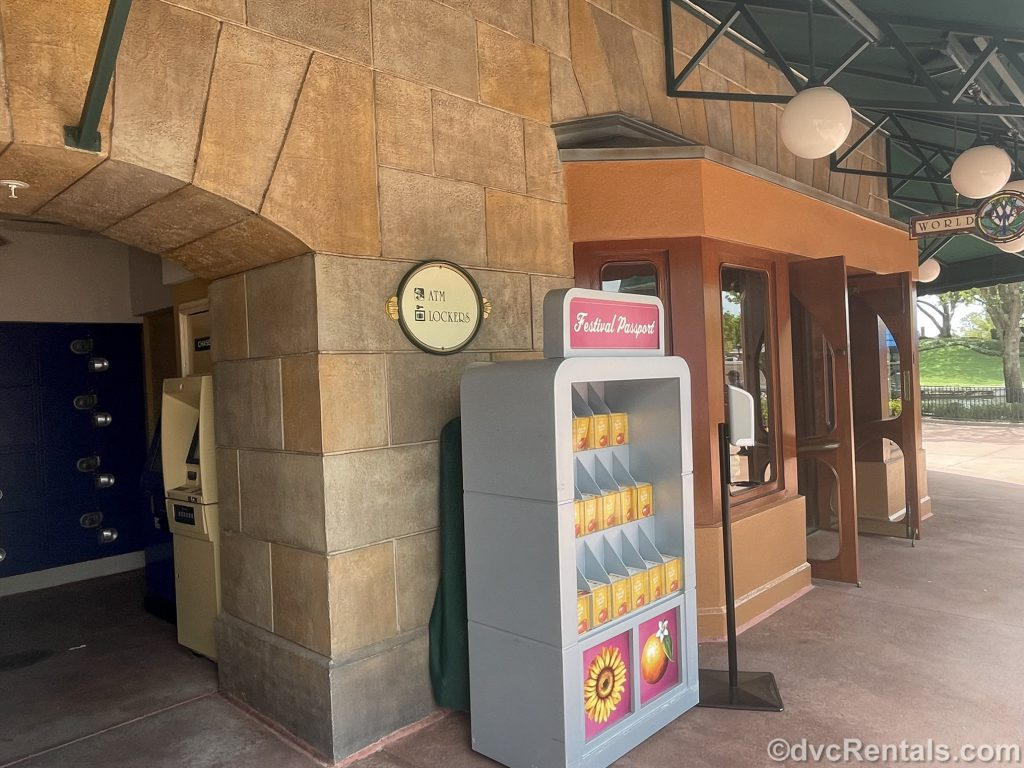 entrance to the locker area at the International Gateway in Epcot