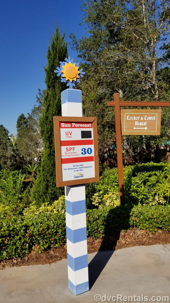 Sign for Lockers at Blizzard Beach