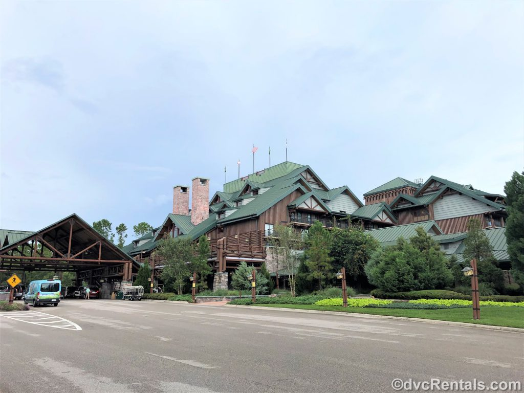 Exterior shot of the entrance to Wilderness Lodge