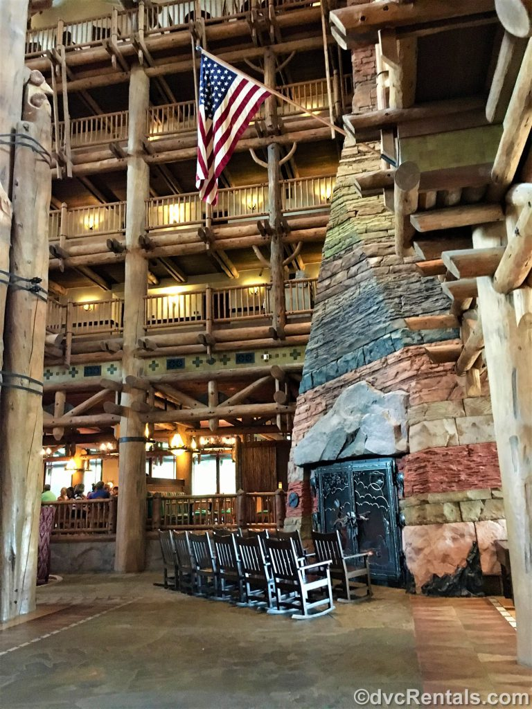 fireplace in the lobby of Copper Creek Villas & Cabins at Disney's Wilderness Lodge