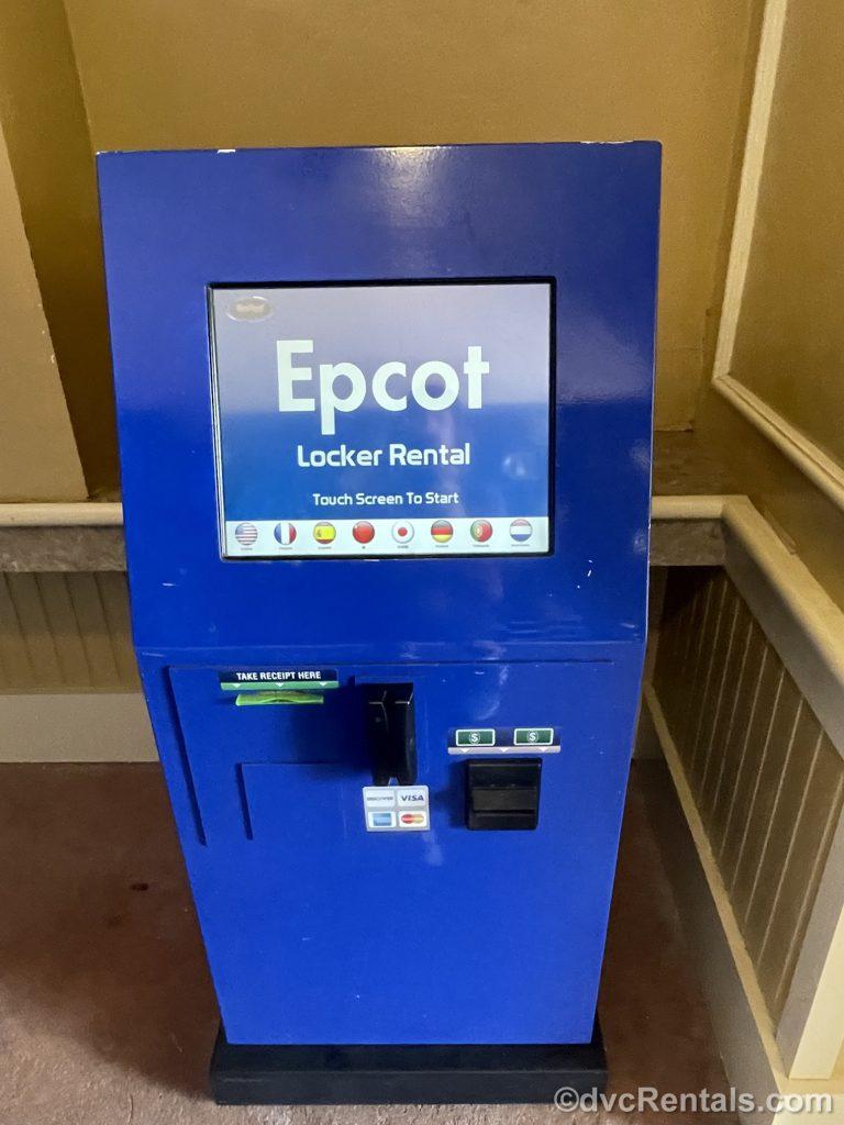 Self-serve kiosk of locker rentals