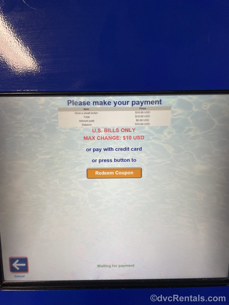 payment screen for the self-serve kiosk