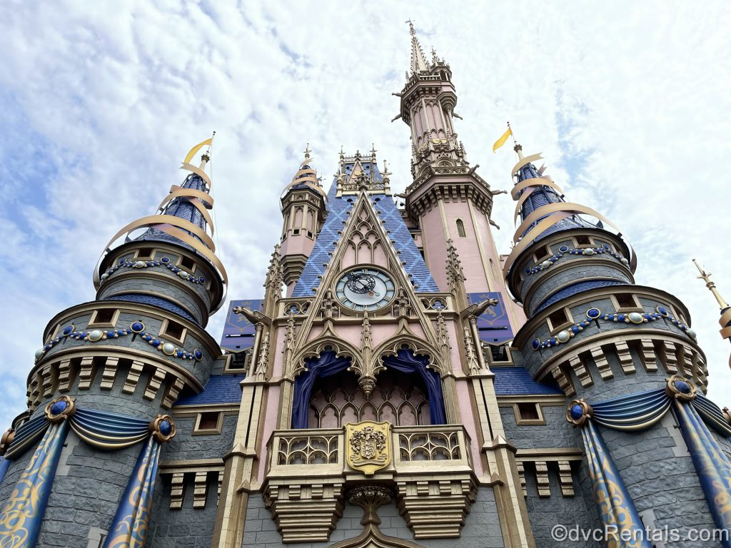 Cinderella Castle with the 50th Anniversary decorations added to it