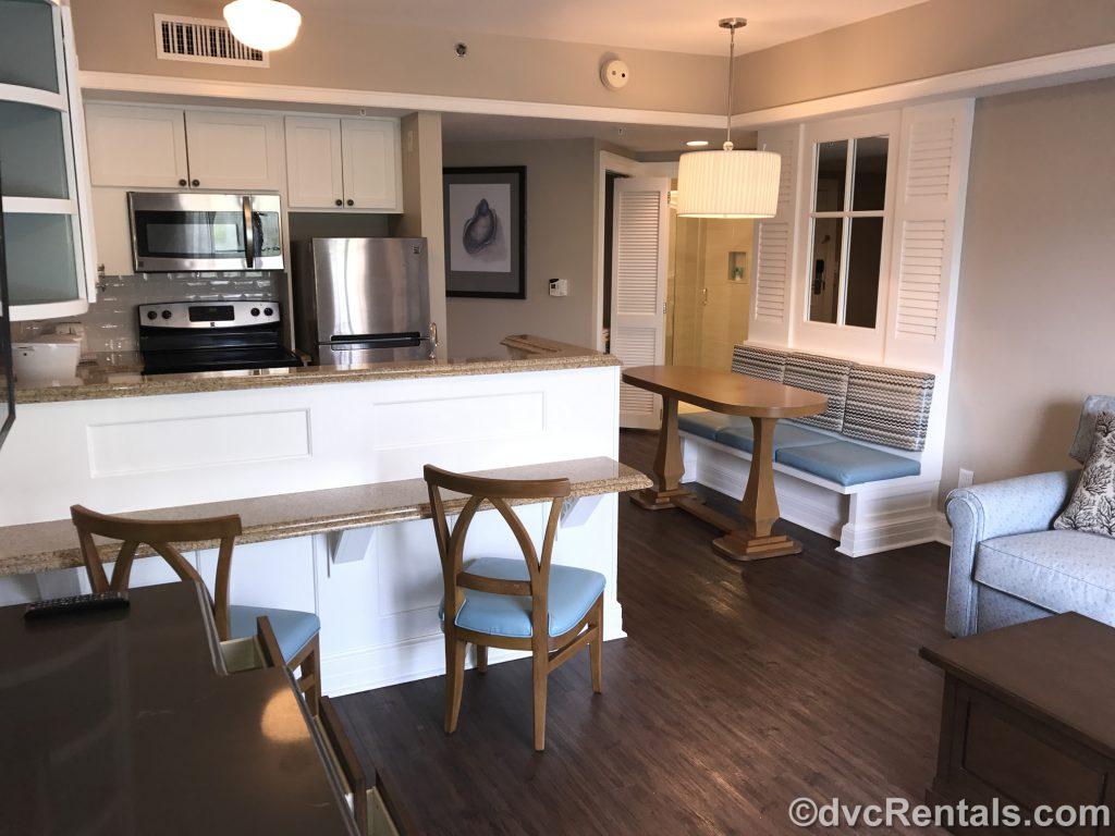 Kitchen in a 1 bedroom villa at Disney's Beach Club Villas