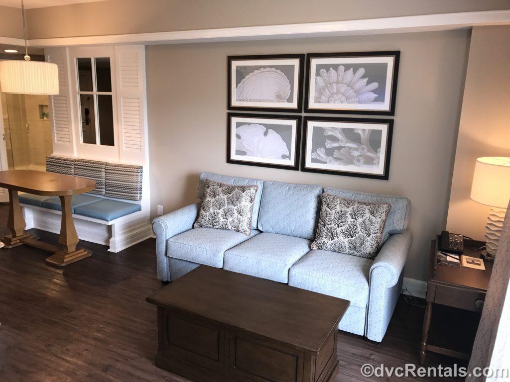Living room in a 1 bedroom villa at Disney's Beach Club Villas