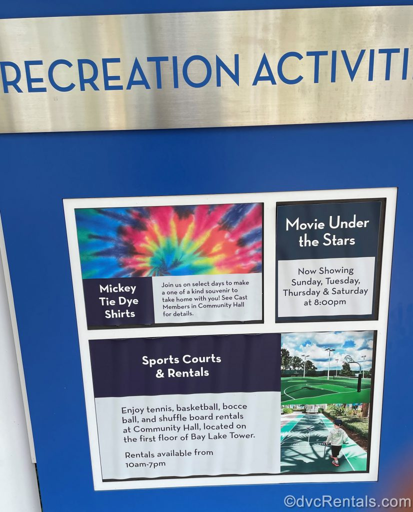 Sign for Movies Under the Stars and other resort activities at Disney's Bay Lake Tower