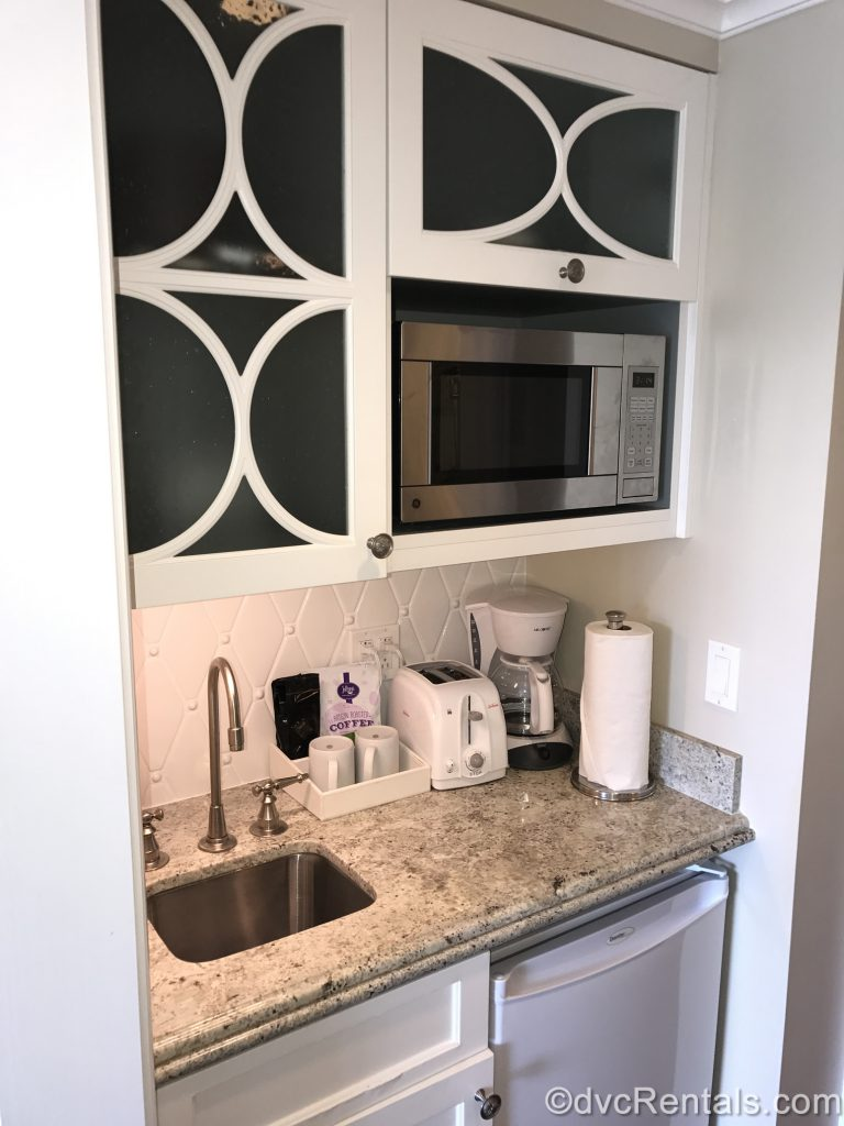 Kitchenette in a studio at the Villas at Disney's Grand Floridian Resort & Spa