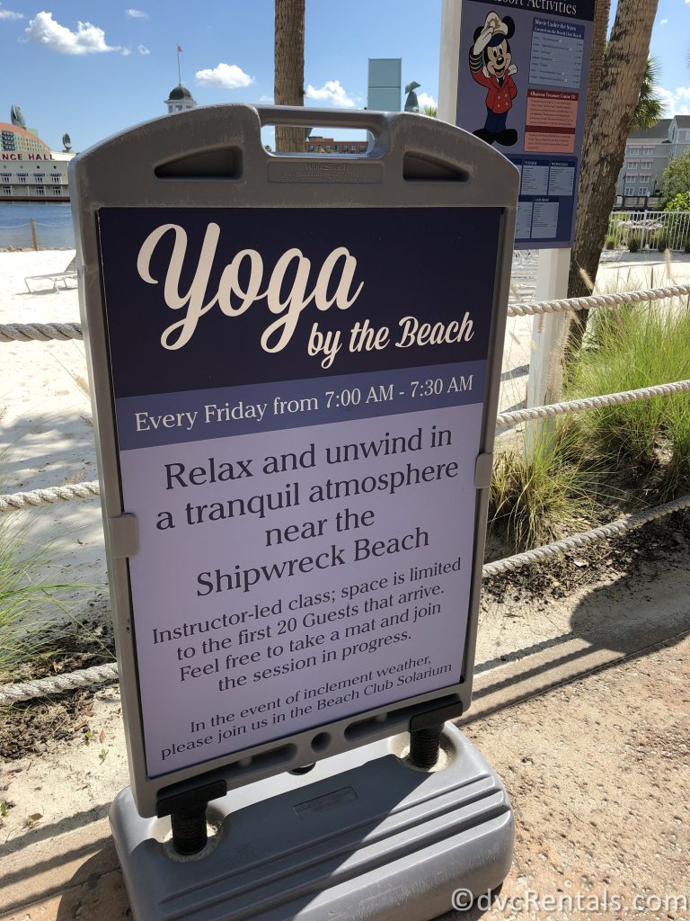 Sign for Yoga at Beach Club