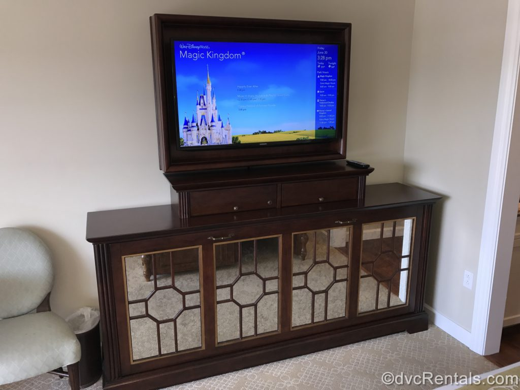 TV and stand in a studio at the Villas at Disney's Grand Floridian Resort & Spa