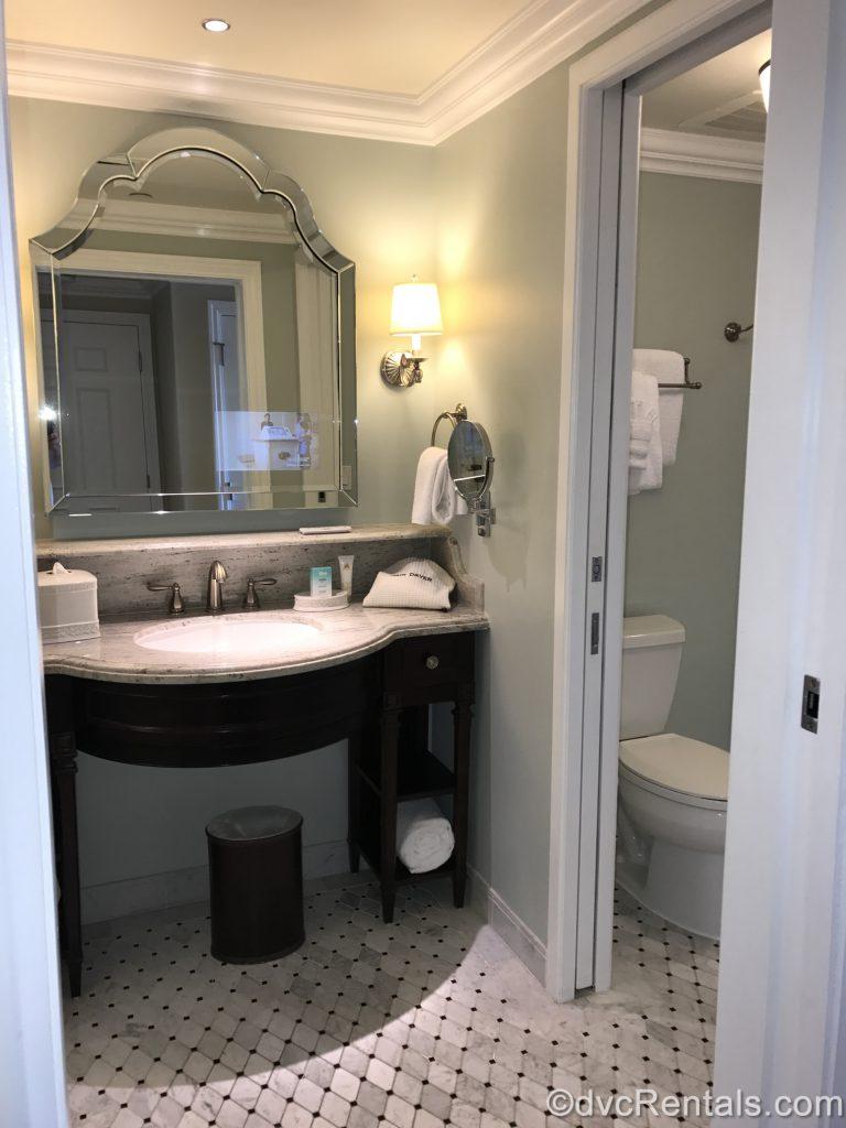 Split bathroom in a studio at the Villas at Disney's Grand Floridian Resort & Spa