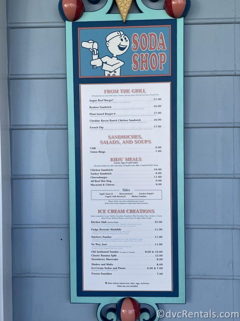 Menu for Beaches & Cream Soda Shop