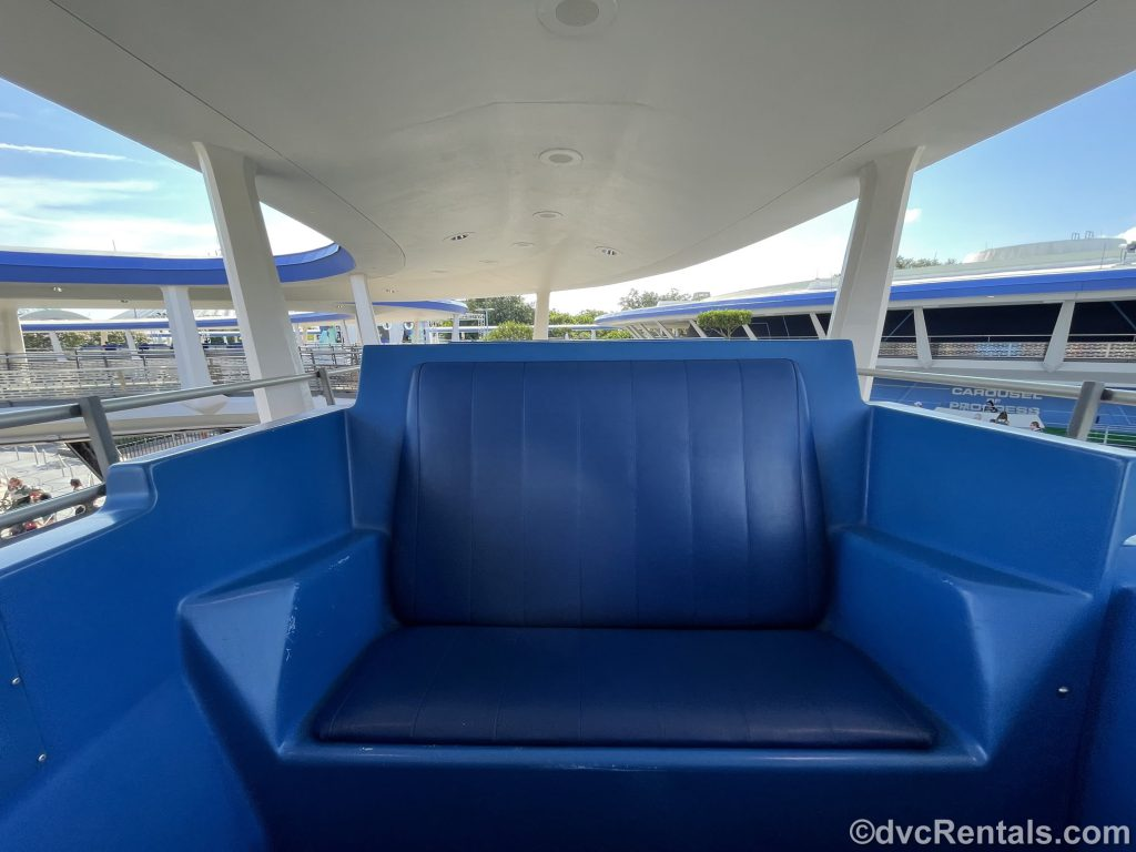 Seats on the PeopleMover at Magic Kingdom