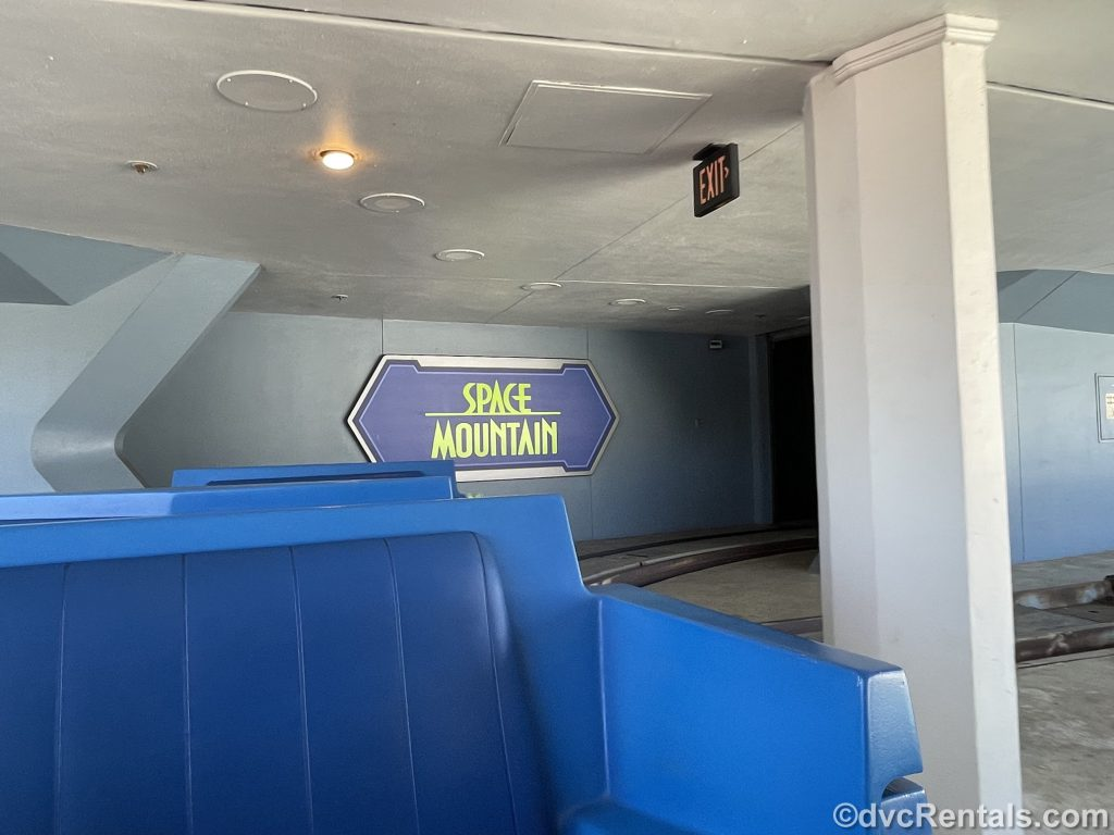 View of Space Mountain sign as seen from the PeopleMover