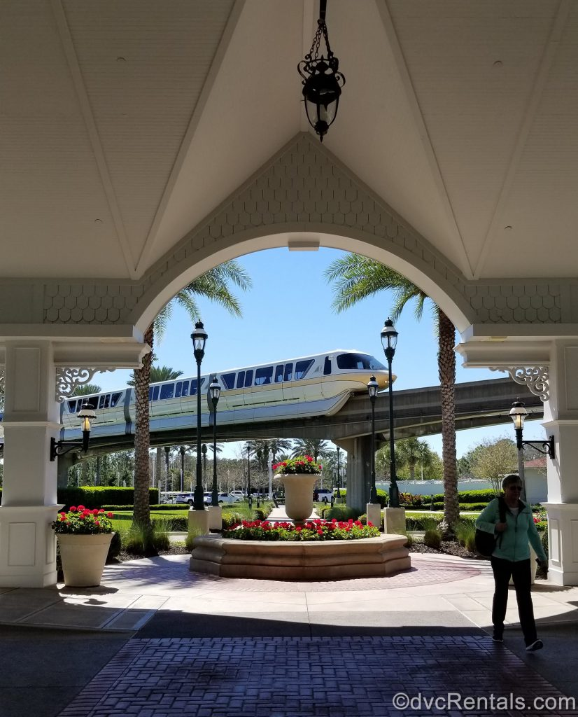 view of the monorail passing by Disney's Grand Floridian Resort & Spa