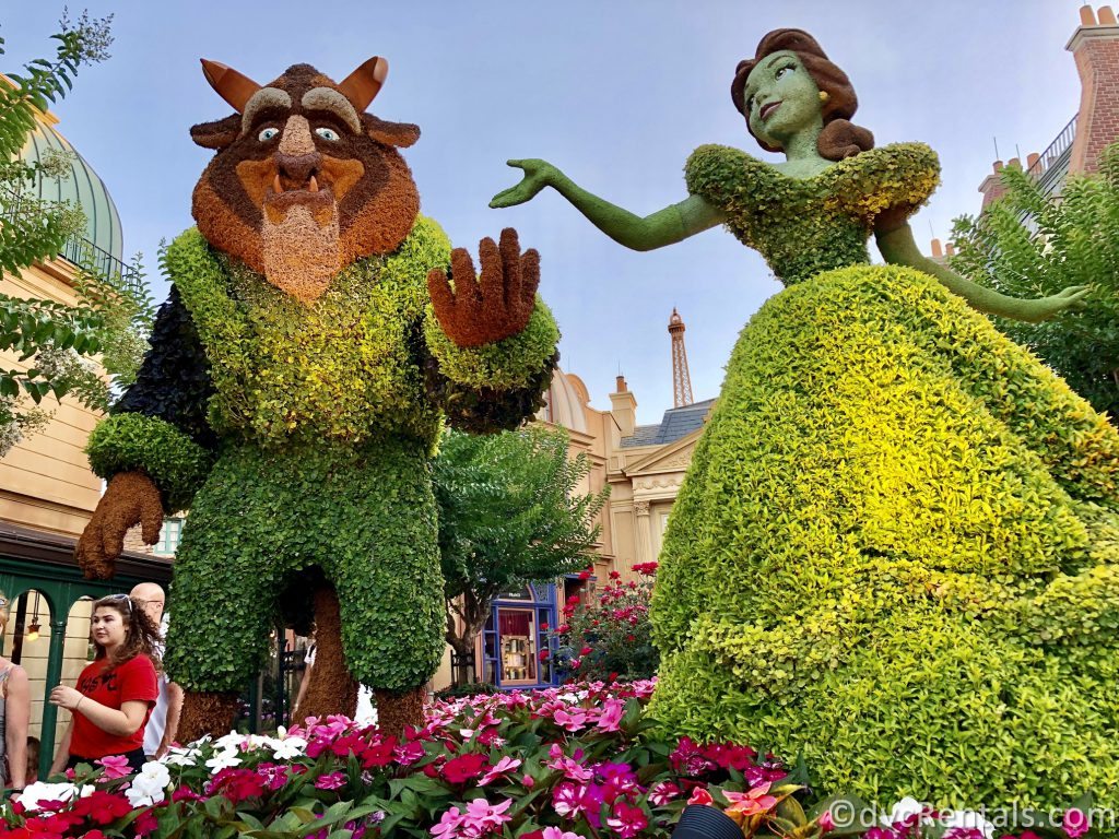 Beauty and the Beast Topiaries at Epcot
