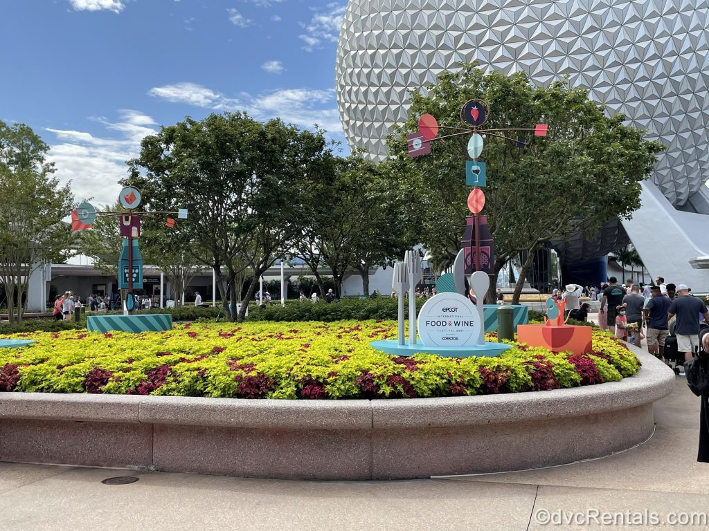 Epcot International Food & Wine Festival decorations and signs