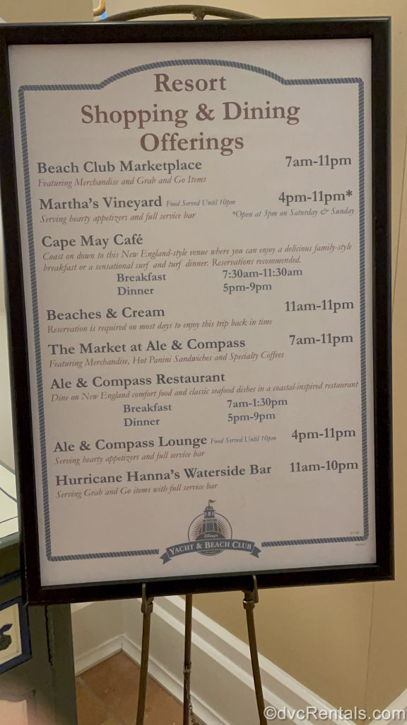 Sign for dining options at Disney's Beach Club Villas