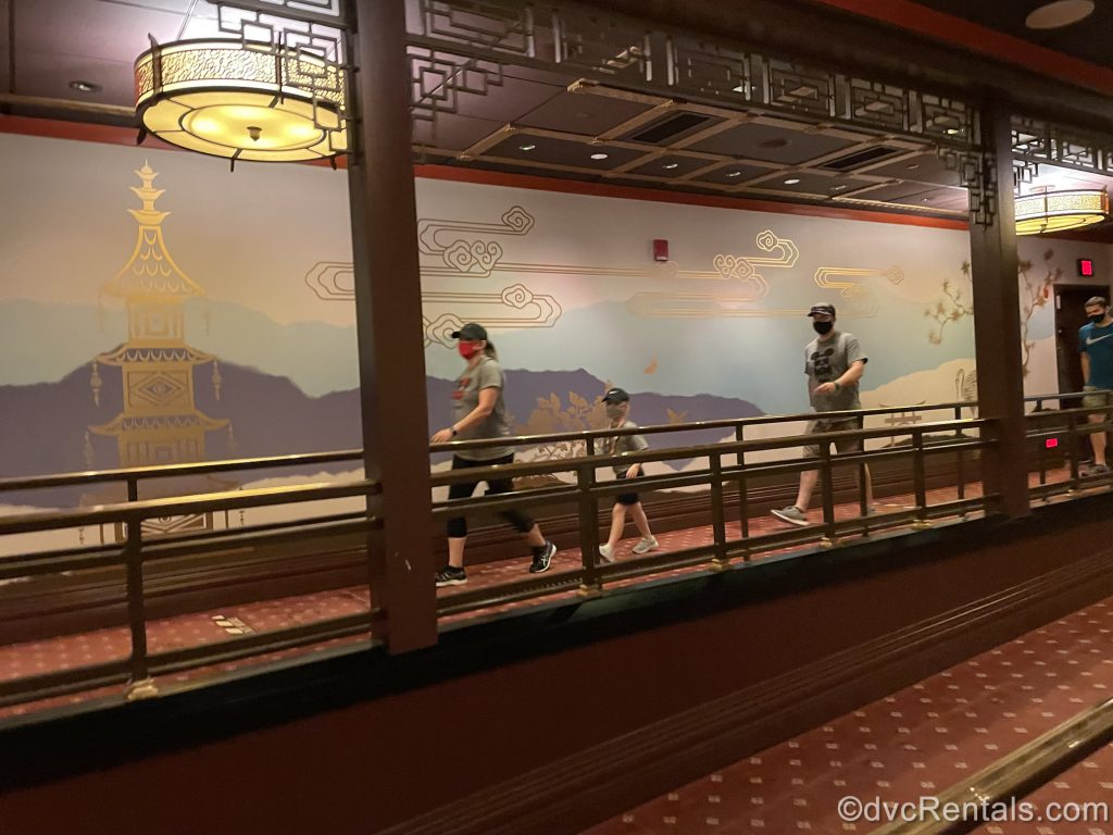 Wallpaper from the Great Movie ride incorporated into Mickey and Minnie's Runaway Railway