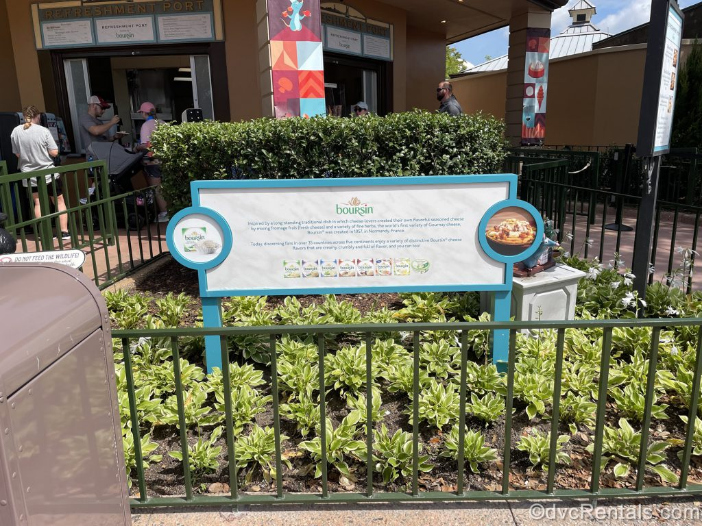 Sign for cheese sponsor at the Epcot International Food & Wine Festival