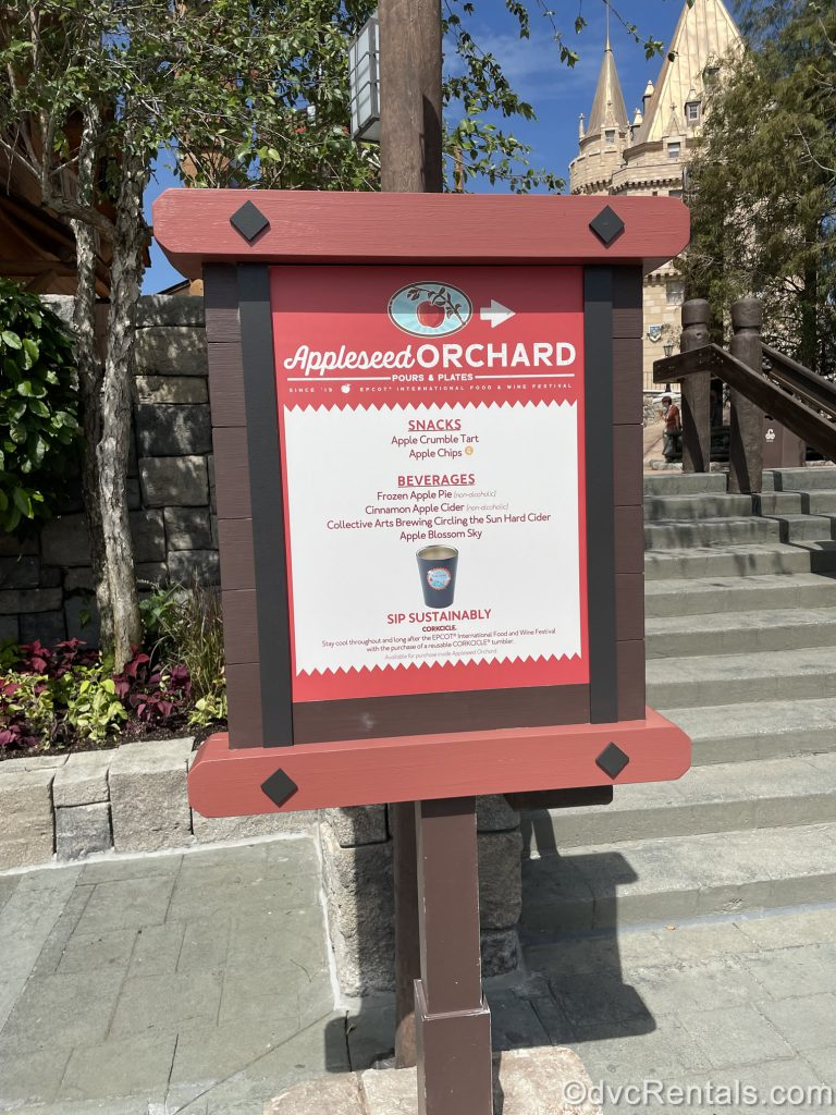 Sign for the Appleseed Orchard at the Epcot International Food & Wine Festival