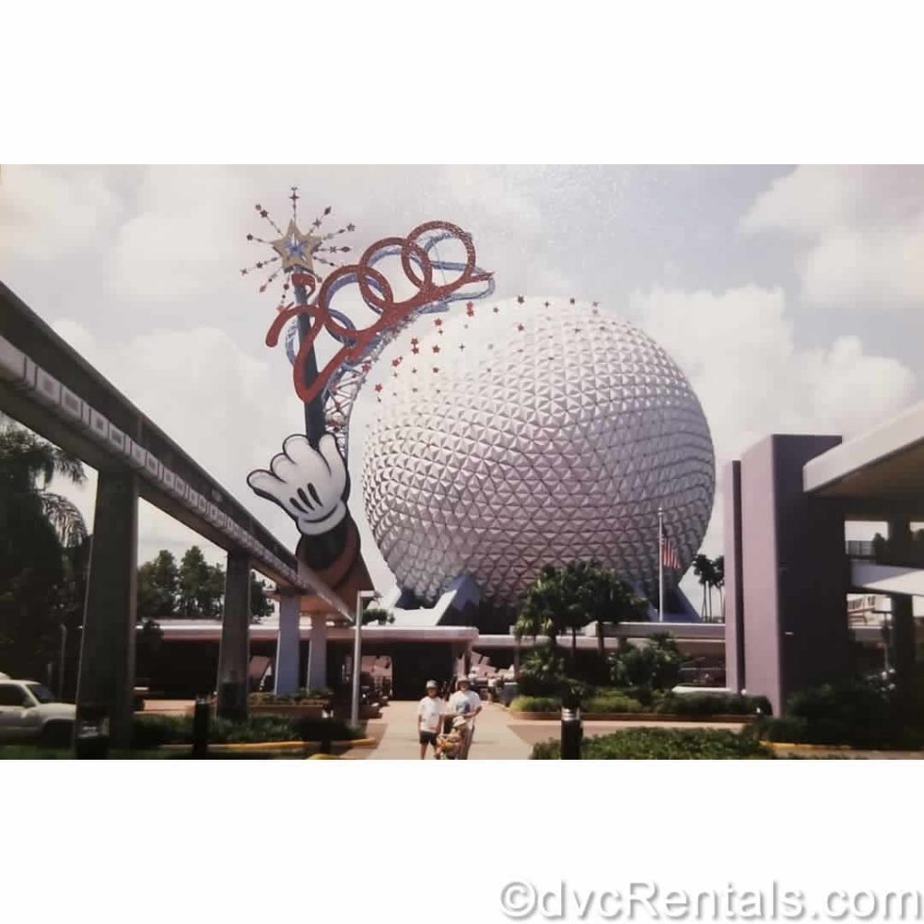 Picture of the Epcot geosphere from when Team Member Kristen visited WDW as a child