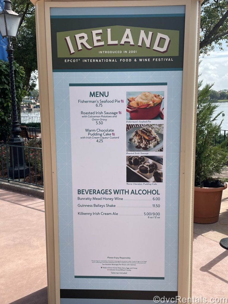 Food booth menu from the Epcot International Food & Wine Festival