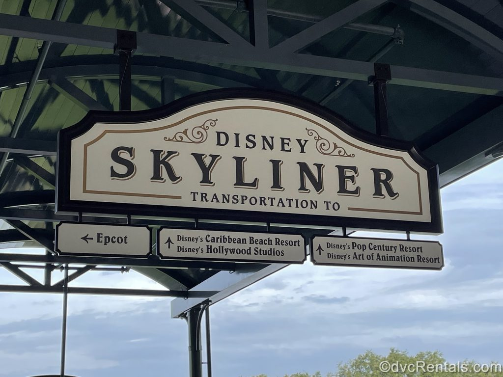 Sign for the Disney Skyliner