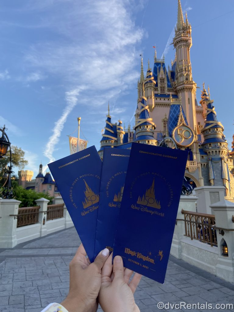 50th Anniversary papers being with Cinderella Castle in the background