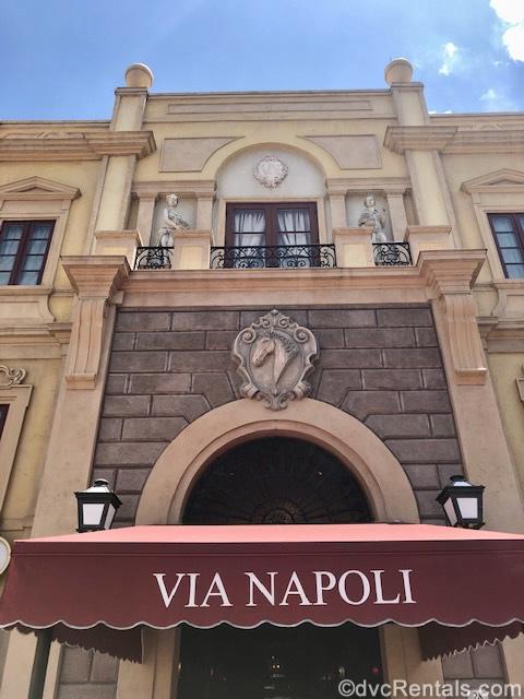 Entrance to Via Napoli at Epcot