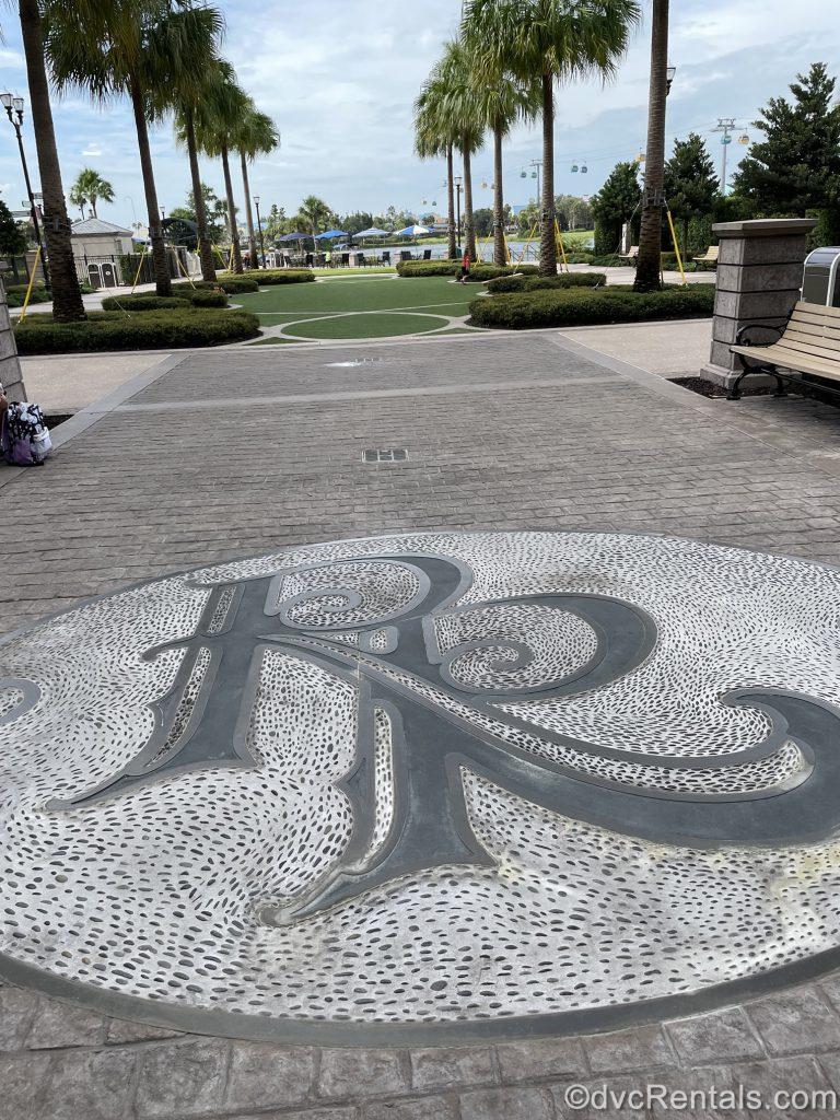 Disney's Rivera Resort emblem in stone